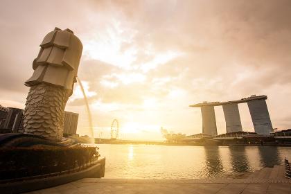 MERLION, SINGAPORE - August 27, 2017 : Landscape view of sunrise