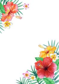 南国 植物 背景 フレーム 縦 水彩 イラスト