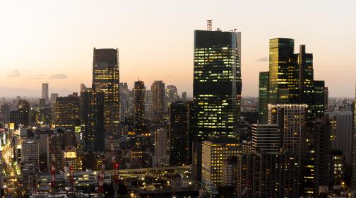 東京タワーよりの夕景 パノラマ