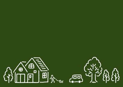 シンプルかわいい家と木のある街で犬の散歩をする人と車のカラー線画イラスト