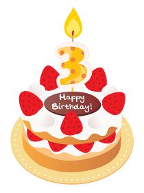 3歳のキャンドルをのせた苺と生クリームのお誕生日ケーキ