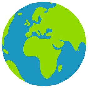 簡略化した世界地図 / 地球 ベクターイラスト (平面) /ヨーロッパ・アフリカ中心