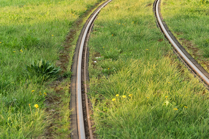 Train rails. Public transportation track covered by lawn. Modern , Wroc艂aw, Lower Silesian Voivodeship, Poland