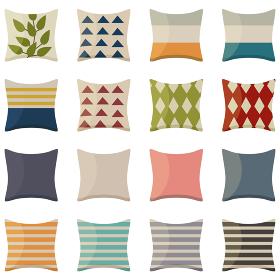 イラスト素材 いろいろなデザインのクッション 枕 寝具 ベクター