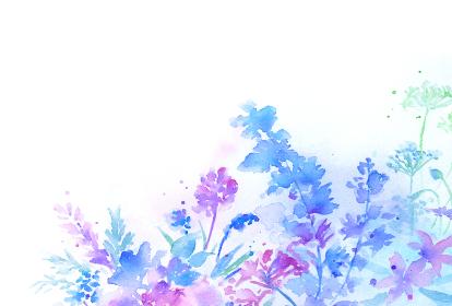 透明水彩で描いた幻想的な花の背景 青紫 はがきサイズ