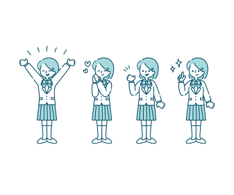 ブレザー(冬服)を着た女子学生の感情表現イラスト(全身)