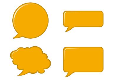 レリーフ状の漫画の吹き出し(イエロー)|バルーン ベクターデータ Speech balloon