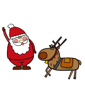 クリスマスに使えるサンタとトナカイのシンプルでかわいいイラスト。