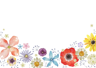 春の花 夏の花 背景 フレーム 水彩 イラスト