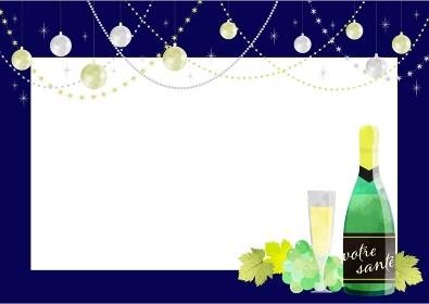 シャンパンときらきらデコレーションの紺色フ