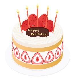 苺と生クリームのお誕生日ケーキ