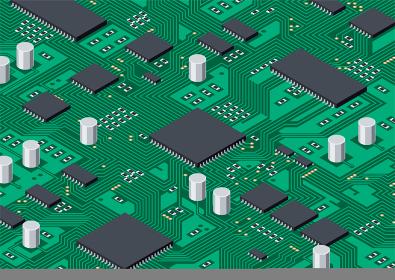 プリント基板と電子パーツの回路 デジタルのイメージ