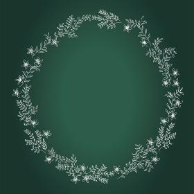 黒板背景チョークタッチ手描きの草木花のアナログ調フレーム