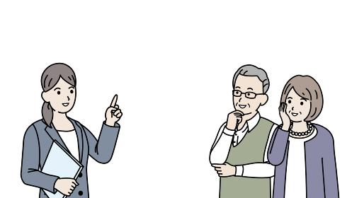 老夫婦に説明するスーツ姿の女性 ビジネスウーマン シニア 年配 高齢者 イラスト素材