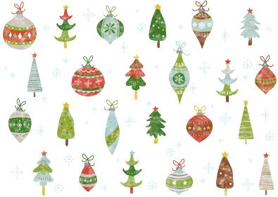 水彩☆手書き☆クリスマス オーナメントのパターン