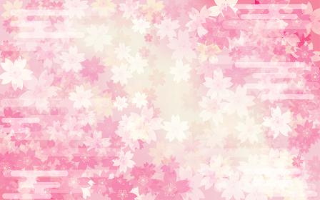 春の背景素材、桜のグラデーション背景、和柄
