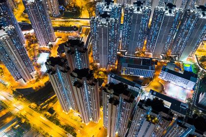 Tin Shui Wai, Hong Kong, 05 November 2018:- Top down view of Hong Kong city at night