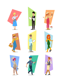 Set of people of different professions, career characters design, Labor Day, cartoon flat-style vector illustration. Set of vector flat design illustrations isolated on white background.