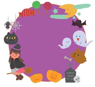 10月 ハロウィンのイラストフレーム