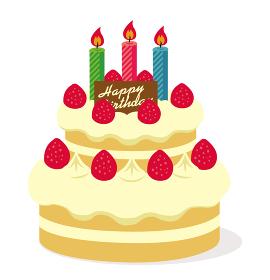 ハッピーバースデー 誕生日ケーキイラスト