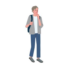 買い物をするシニアの男性のイラスト