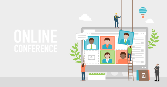 ビデオ会議・オンラインミーティングのコンセプトバナーイラスト
