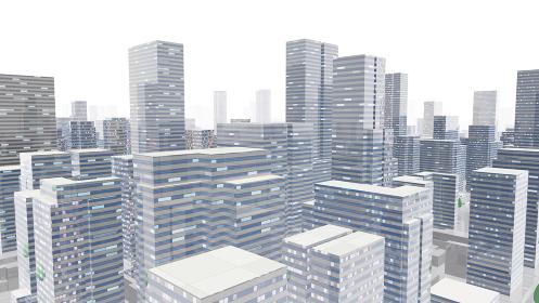 都市 街 ビル 建物 シティ オフィスビル ビジネス街 オフィス街 3D イラスト 背景 バック