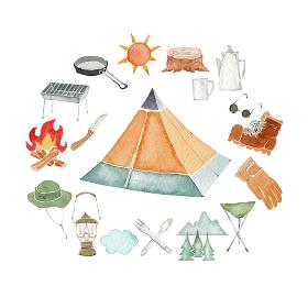 アウトドア キャンプ アイコン セット 水彩 イラスト