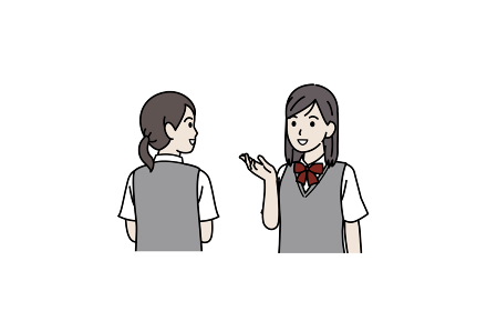 会話する 学生 話す 中高生 高校生 中学生 女の子 イラスト素材