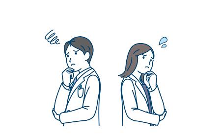 医者 女医 白衣を着た男女 悩む 困る ポーズ イラスト素材