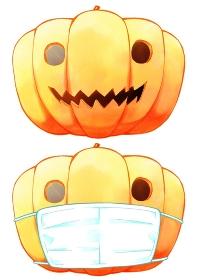 ハロウィンのカボチャとマスクをするカボチャ