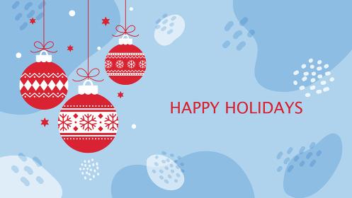 クリスマス用背景素材、水色の抽象的背景に吊り下げられた赤いオーナメント