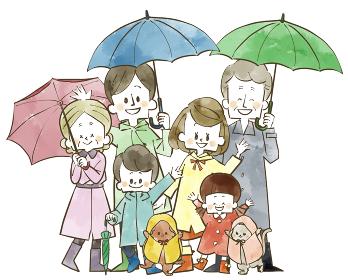 雨の日の三世代家族 水彩