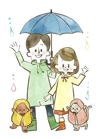 雨の日の夫婦とペット 水彩