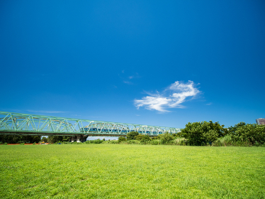 夏の青空と野原の風景 東京都北区赤羽 8月
