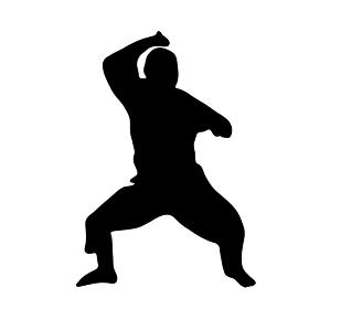 構える少林寺拳法のシルエット