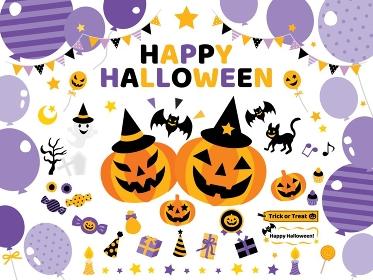 ハロウィンのジャック・オ・ランタンや風船やお菓子や幽霊のセットイラスト