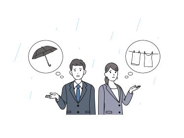 雨が降る 傘を忘れる 洗濯物干しっぱなし 困る スーツ姿の男女 会社員 イラスト素材