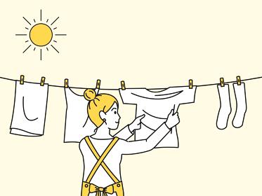 洗濯物を干す 取り込む 主婦 女性 家事 イラスト素材