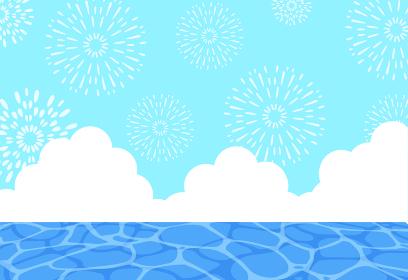 暑中見舞い 昼間の花火と海