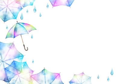 梅雨 傘 背景 フレーム 水彩 イラスト