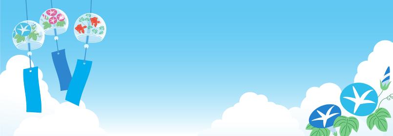 夏空背景 風鈴と朝顔 ヨコ長