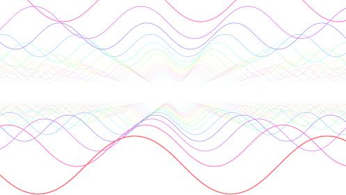 波 ウェーブ ネオン ライン 虹色 抽象的 3D イラスト 背景
