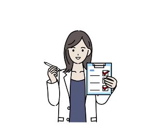 医者 女医 薬剤師 カウンセラー 白衣を着た女性 健康チェック 記入 イラスト素材