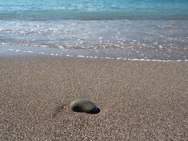 砂浜と丸い石