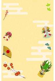 年賀状:門松としめ縄、梅、正月飾りのデザイン
