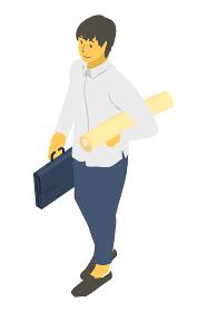 アイソメトリック図法で鞄と巻紙を持つ中性的