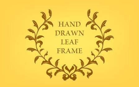 フレーム素材、手描きのナチュラルなリーフフ