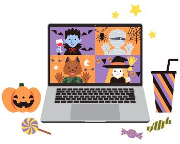 お菓子と一緒にインターネットでリモートパーティー ハロウィン ノートパソコン