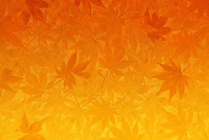 和紙と紅葉の背景 オレンジ色から黄色のグラデーション